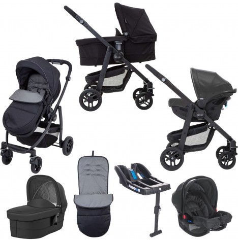 Graco Evo Travel System With Carrycot & Base - Black / Grey