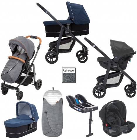 Graco Evo Avant Travel System With Carrycot & Base - Breton Stripe / Ink