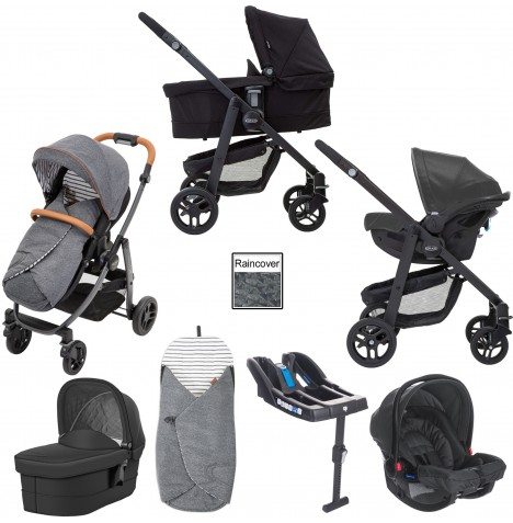 Graco Evo Avant Travel System With Carrycot & Base - Breton Stripe / Black