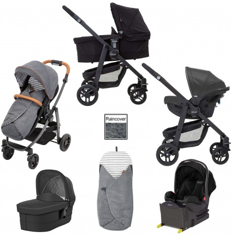Graco Evo Avant i-Size Travel System With Carrycot & Isofix Base - Breton Stripe / Black