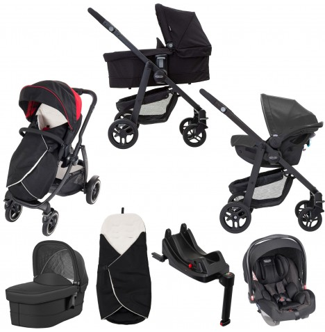 Graco Evo XT i-Size Travel System With Carrycot & Isofix Base - Black / Red