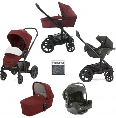 Joie Chrome DLX Travel System with i-Gemm Car Seat, Carrycot & Footmuff - Cranberry/Noir