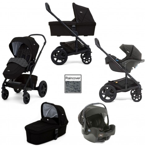 Joie Chrome DLX (i-Gemm) Travel System & Carrycot (inc Footmuff) - Dots / Noir