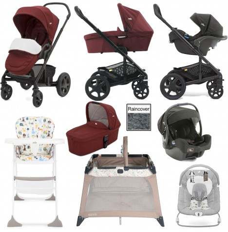 Joie Chrome DLX Everything You Need (i-Gemm) Travel System & Carrycot Bundle - Cranberry / Noir