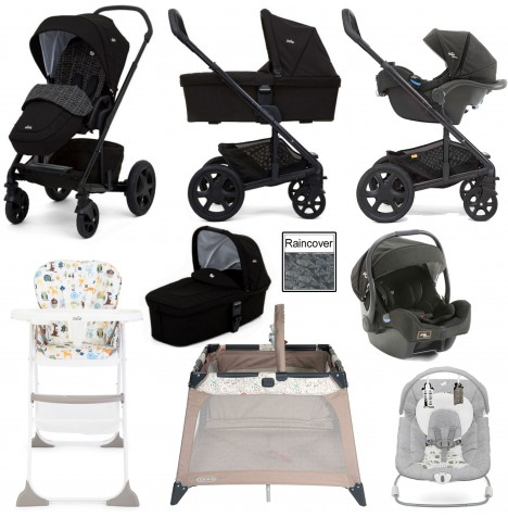 Joie Chrome DLX Everything You Need (i-Gemm) Travel System & Carrycot Bundle - Dots / Noir