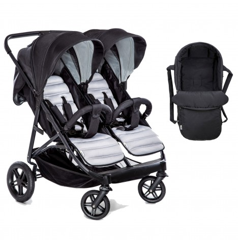 Hauck Rapid 3R Duo Twin Pushchair & Carrycot - Silver / Charcoal