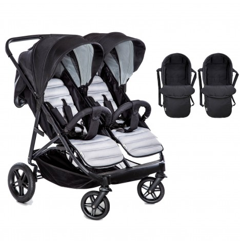 Hauck Rapid 3R Duo Twin Pushchair & x2 Carrycot - Silver / Charcoal