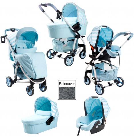My Babiie M100+ *Billie Faiers Collection* Travel System & Carrycot - Blue Stripes