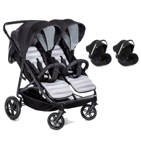Hauck Rapid 3R Duo (Comfort Fix) Double Travel System - Silver / Charcoal