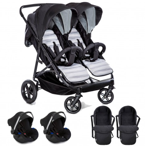 Hauck Rapid 3R Duo (Comfort Fix) Double Travel System & x2 Carrycot - Silver / Charcoal