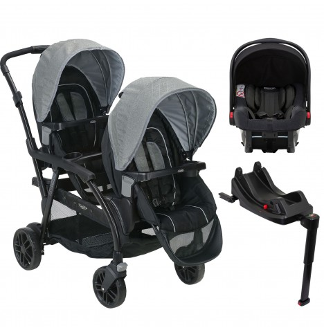 Graco Modes Duo Tandem Double Pram Travel System & Isize Car Seat Base (Snugride iSize)