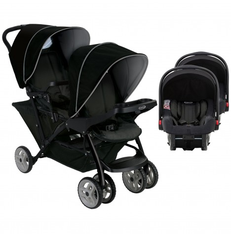 Graco Stadium Duo Double Pram Twin Travel System (Snugride i-Size) - Black / Grey