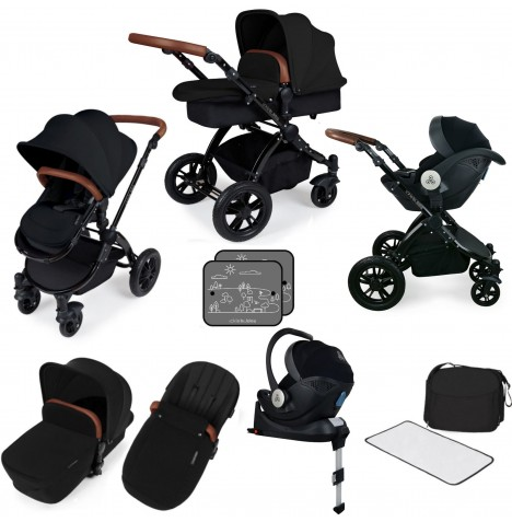 Ickle bubba Stomp V3 All In One i-Size (Mercury) Travel System & Isofix Base - Black / Black