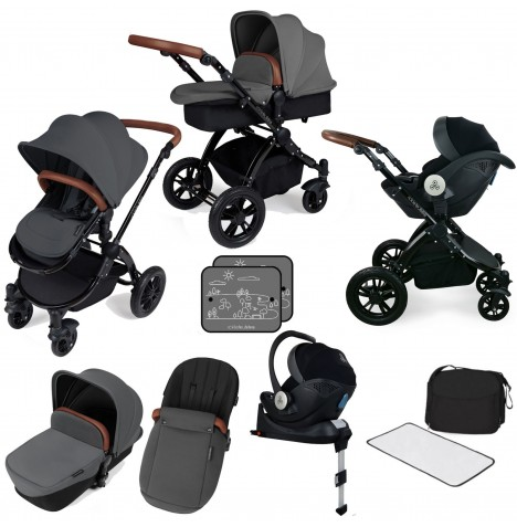 Ickle bubba Stomp V3 All In One i-Size (Mercury Car Seat) Travel System & Isofix Base - Graphite Grey / Black
