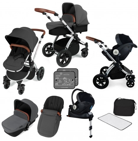 Ickle bubba Stomp V3 All In One i-Size (Mercury) Travel System & Isofix Base - Graphite Grey / Silver