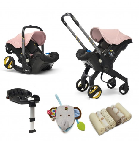 Doona Infant Car Seat / Stroller With Isofix Base & Accessories - Blush Pink..