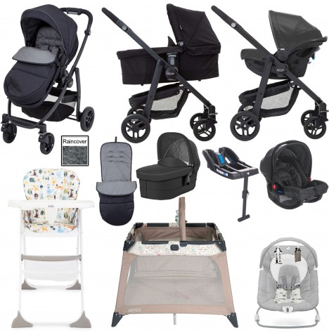 Graco Evo Everything You Need Travel System With Carrycot & Base Bundle - Black / Grey