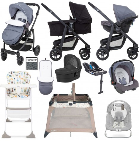 Graco Evo Everything You Need Travel System With Carrycot & Base Bundle - Mineral