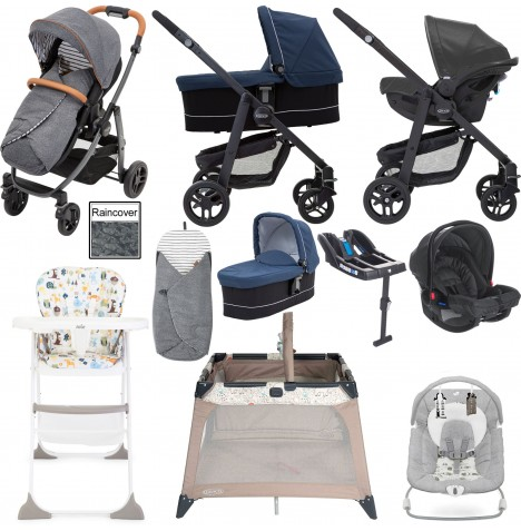 Graco Evo Avant Everything You Need Travel System With Carrycot & Base Bundle - Breton Stripe / Ink