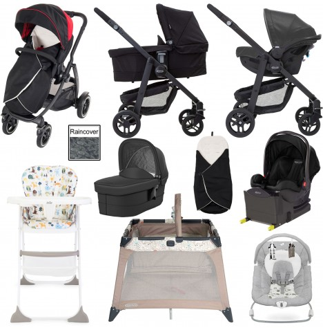 Graco Evo XT Everything You Need i-Size Travel System With Carrycot & Isofix Base Bundle - Black / Red
