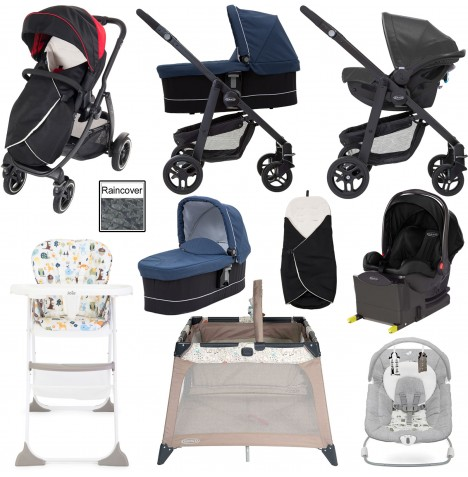 Graco Evo XT Everything You Need i-Size Travel System With Carrycot & Isofix Base Bundle - Black / Red / Ink