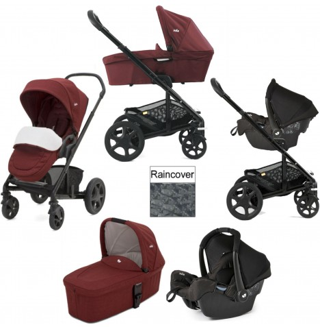 Joie Chrome DLX (Gemm) Travel System & Carrycot (inc Footmuff) - Cranberry...
