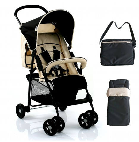 Hauck Sport Pushchair with Raincover, Footmuff & Changing Bag - Almond / Caviar