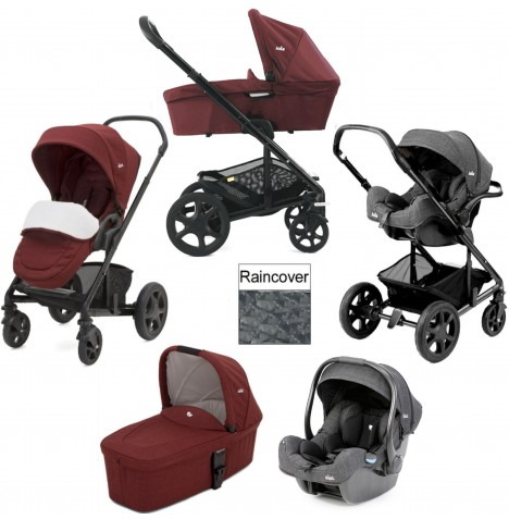 Joie Chrome DLX (i-Gemm) Travel System & Carrycot (inc Footmuff) - Cranberry