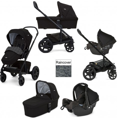 Joie Chrome DLX (Gemm) Travel System & Carrycot (inc Footmuff) - Dots Black