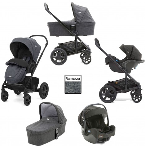Joie Chrome DLX (i-Gemm) Travel System & Carrycot (inc Footmuff) - Pavement / Noir...