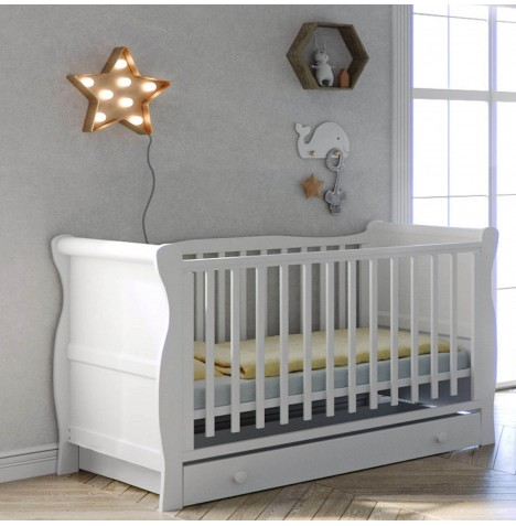 Little Acorns Sleigh Cot Bed With Deluxe Foam Mattress & Drawer - White...