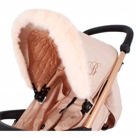 My Babiie Pram Hood (Faux) Fur Trim - Blush