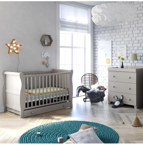 Little Acorns Sleigh 4 Piece Nursery Furniture Set - Cotbed & Drawer With Dresser - Grey