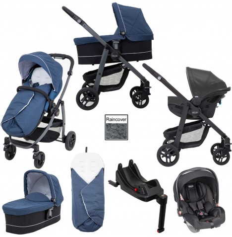 Graco Evo Avant Pushchair Travel System with i-Size Car Seat Base - Ink