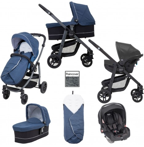 Graco Evo Avant (Snug Essentials i-Size) Travel System - Ink