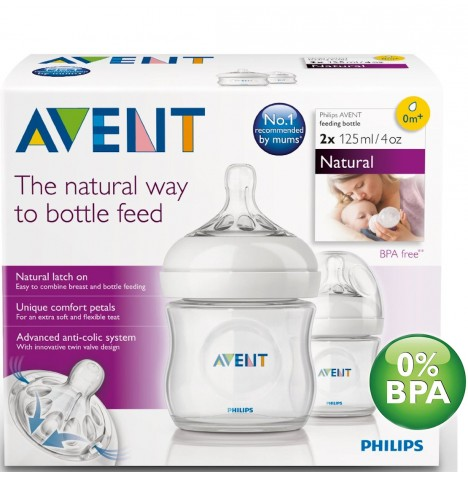 Philips Avent Natural Bottle 4oz / 125ml (2 Pack)