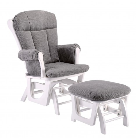 Mini Uno Prestige Nursing Glider Chair & Footstool - White / Grey...