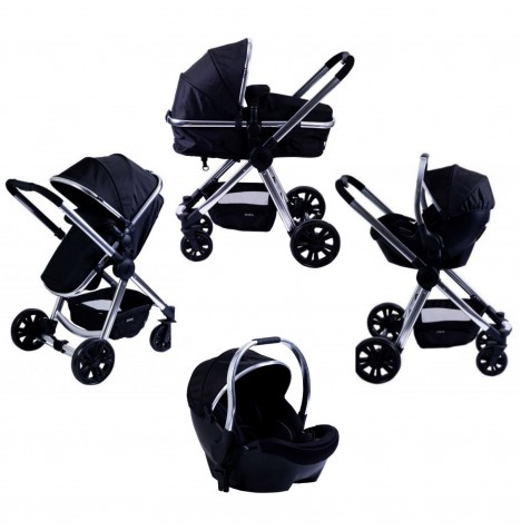 Red Kite Push Me Fusion 3in1 Pram / Pushchair Travel System - Onyx Black