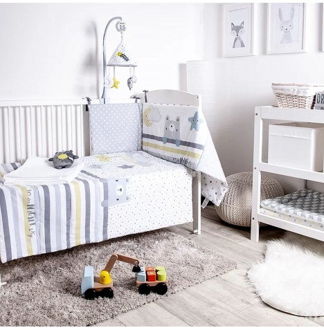 Red Kite 5 Piece Cosi Cot / Cot Bed Bedding Set with Musical Mobile - In the Night Sky Grey