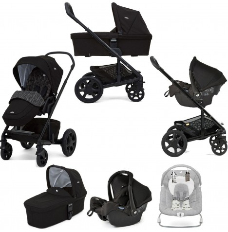 Joie Chrome DLX Travel System with Gemm Car Seat, Carrycot, Footmuff & Wish Bouncer Bundle - Dots Black / Petite City
