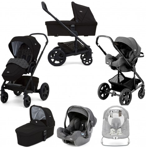 Joie Chrome DLX (i-Gemm) Travel System + Carrycot (inc Footmuff) & Wish Bouncer - Dots Black / Petite City