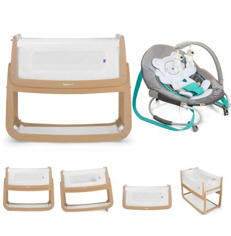 Snuz SnuzPod3 Bedside Crib 3 in 1 With Mattress & Leisure Baby Bouncer Bundle - Natural