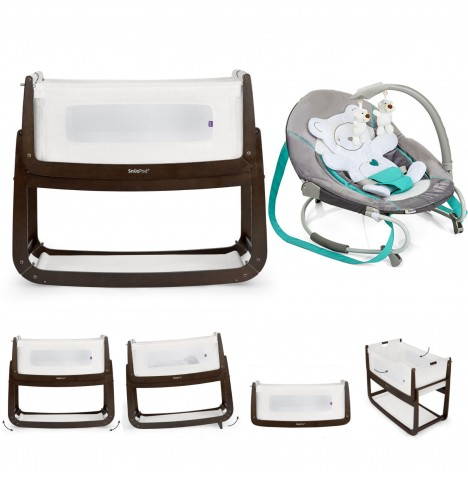 Snuz SnuzPod3 Bedside Crib 3 in 1 With Mattress & Leisure Bouncer Bundle - Espresso