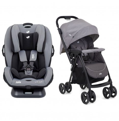 Joie Everystage Verso Group 0+,1,2,3 ISOFIX Child Car Seat + Mirus Scenic Stroller Bundle - Slate Grey / Dark Pewter