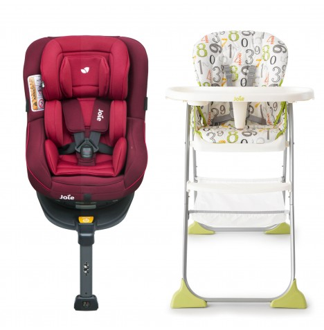 Joie Spin 360 Group 0+/1 Isofix Car Seat with Mimzy Snacker Highchair Bundle - Merlot / 123