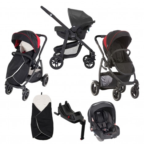 Graco Evo XT i-Size Travel System With Isofix Base - Black / Red
