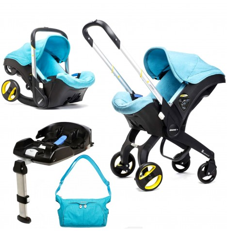 Doona Infant Car Seat / Stroller With Isofix Base & Changing Bag - Sky Blue