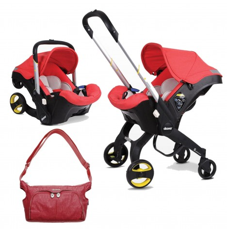 Doona Infant Car Seat / Stroller With Changing Bag - Love Red
