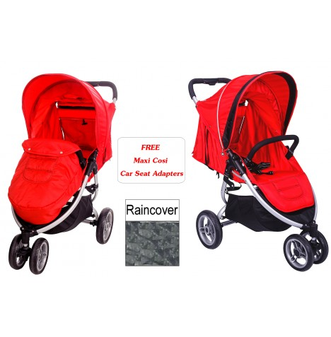 New red kite flame red zumi 3 wheel pushchair stroller from birth baby
