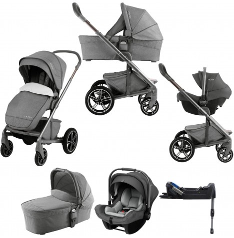 Nuna Mixx (Pipa Lite) Limited Edition Travel System, Isofix Base & Carrycot - Threaded Grey